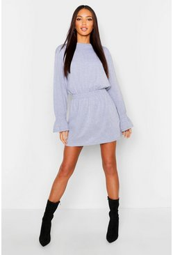 Grey Shirred Waist T-Shirt Dress