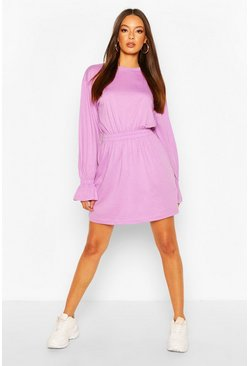 Lilac purple Shirred Waist T-Shirt Dress