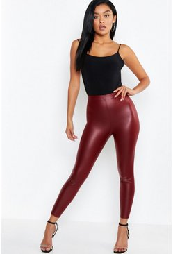 Wine red Matte Leather Look Leggings