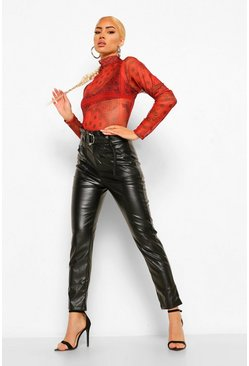 Black Leather Look High Waist D Ring Trouser