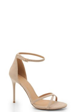 Cross Strap 2 Part Heels, Nude color carne
