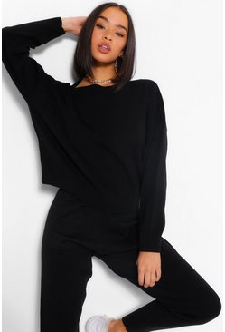 Black Slash Neck Cropped Knitted Set