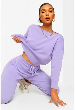 Lilac purple Slash Neck Cropped Knitted Tracksuit