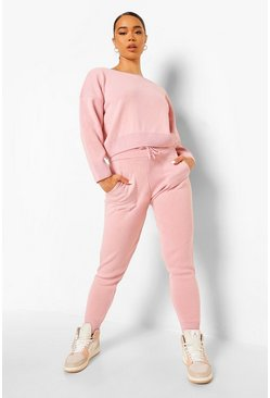 Pink Slash Neck Cropped Knitted Tracksuit