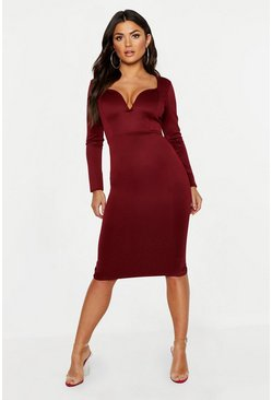 Berry red Plunge Neck Midi Dress
