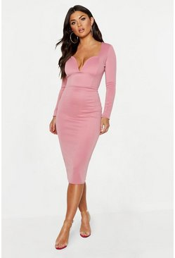 Rose pink Plunge Neck Midi Dress