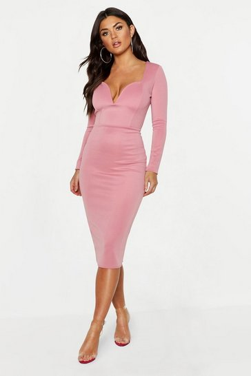 Rose Plunge Neck Midi Dress