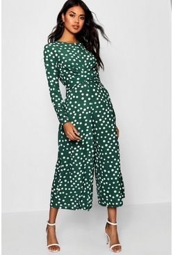 Forest green Twist Front Polka Dot Jumpsuit