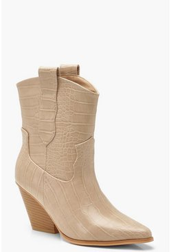 Bottes western pointues crocodile, Écru blanc