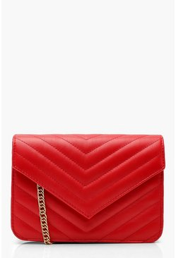Red Quilted Cross Body Bag