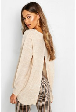 Beige Zip Back Oversized Jumper