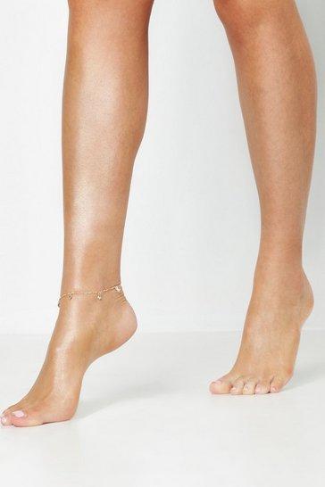 Gold metallic Diamante Drop Anklet