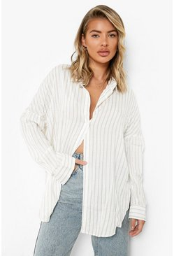 Beige Oversized Split Side Stripe Shirt