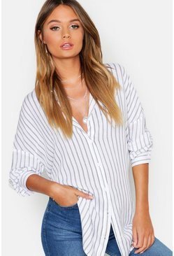 Black Oversized Split Side Stripe Shirt