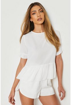 Ivory white Geweven Peplum Top Met Ruches