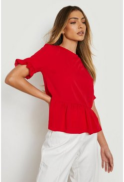 Red Geweven Peplum Top Met Ruches