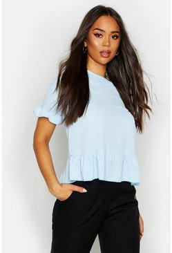 Sky blue Geweven Peplum Top Met Ruches