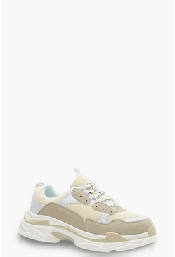 Natural Chunky Platform Lace Up Trainers