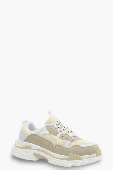Natural beige Chunky Platform Lace Up Trainers
