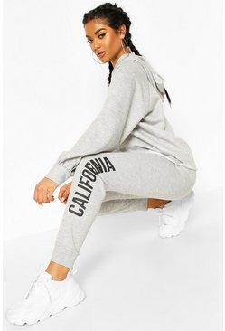 "Fit Kurzer Trainingsanzug mit ""California""-Slogan, Grey marl grau"