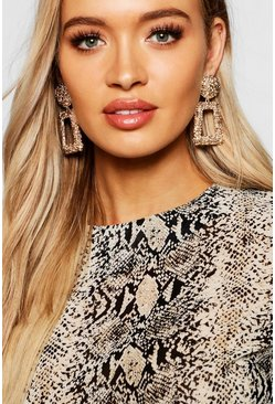 Gold metallic Textured Oversized Statement Earrings