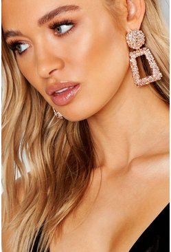 Rose gold metallic Textured Oversized Statement Earrings