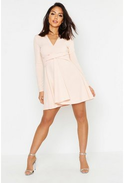 Blush pink Long Sleeved Plunge Neck Skater Dress