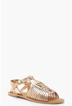 Rose gold Wide Fit Leather Hurachi Sandals