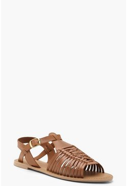 Tan brown Leather Peeptoe Hurachi Sandals