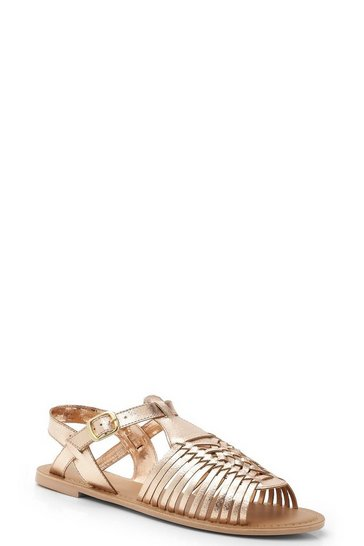 Rose gold metallic Leather Peeptoe Hurachi Sandals