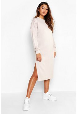 Ecru Split Midi Sweat Dress