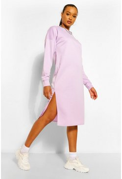 Lilac purple Split Midi Sweat Dress