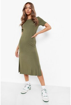 Khaki Split Midi T-Shirt Dress