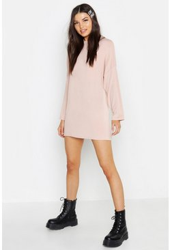 Nude High Neck Long Sleeve T-Shirt Dress