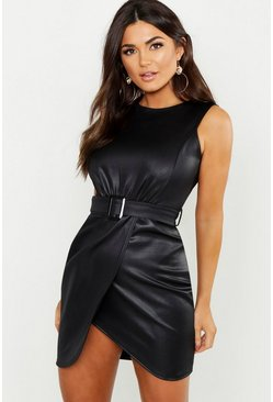 Black PU Belted Wrap Bodycon Dress