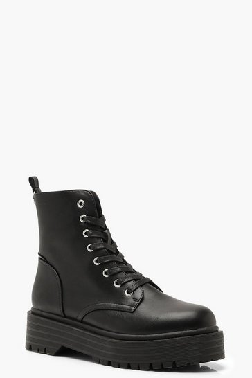 Black Chunky Sole Lace Up Hiker Boots