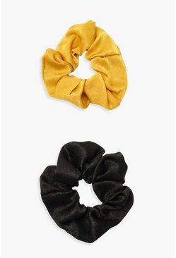 Multi Mustard Satin & Black Scrunchie 2 Pack