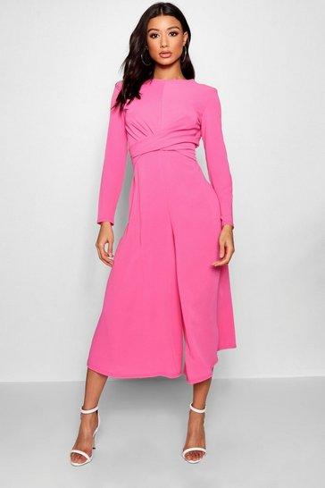 Cerise pink Knot Front Woven Culotte Jumpsuit