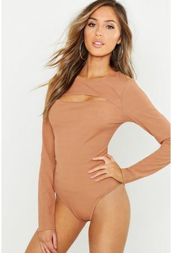 Camel beige Ribbad body med cut-out-detalj