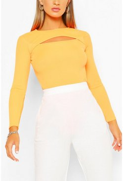 Neon-orange orange Basic Rib Keyhole Detail Bodysuit