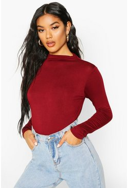 Berry red Basic Funnel Neck Long Sleeve Crop Top
