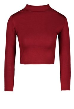 Berry Basic Funnel Neck Long Sleeve Crop Top