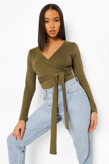 Khaki Green Rib Wrap Front Bodysuit