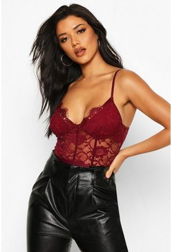Berry red Premium Eyelash Lace Panelled Bodysuit