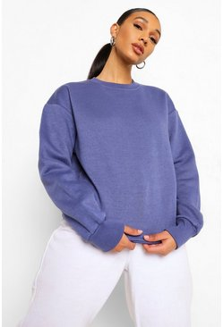 Denim blue Basic Crew Neck Oversized Sweat