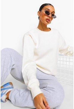Ecru white Basic Crew Neck Oversized Sweat