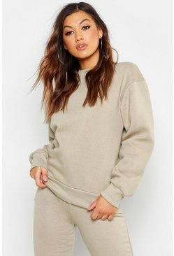 Grey Basic Crew Neck Oversized Sweater