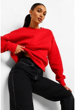 Rood red Basic oversized sweat met ronde hals