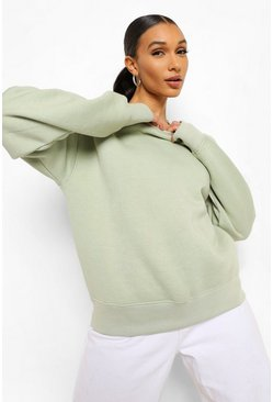 Sage green Basic Crew Neck Oversized Sweat