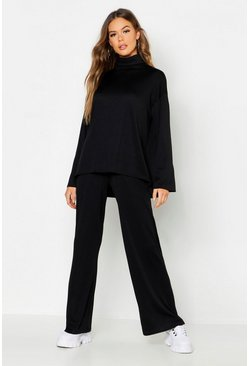 Black Roll Neck T-Shirt + Trouser Co-Ord Set